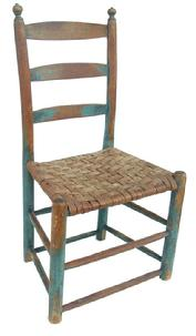 K822 Ladder Back  Pennsylvania early 19th century Child's Chair with original blue paint. Triple ladder,with great turned finials The Chair still retains it's original seat circa 1820