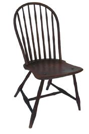 "X304 Late 18th Century Windsor Bow Back Side Chair 1795- 1800 ( possibly  Sampson Barnet of Wilmington, Delaware )- with the original red paint, all spindles and legs are bamboo style  turnings, and a shaped saddle seat. Has a seven spindled back. In good condition. Measures 35 1/4"" high and 16 1/2"" wide x 16"" deep."