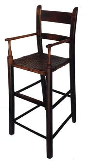 "D184 18th century Virginia Shenandoah Valley  Youth ladder back arm Chair, , rabbit ear post, with the original seat, gratefully tired front post circa 18 90  Measurements are 31 1/2"" tall x 13"" wide x 15"" deep"