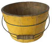 "D252  19th Century Wooden Bucket with original dry chrome yellow  paint, with a wire bail handle and metal bands.This bucket is tight and sturdy , 11 1/2"" diameter x 8"" tall"