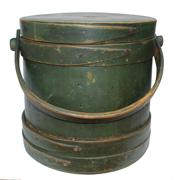 "C228  New England green Covered Wooden Firkin, tongue and groove softwood staved sides, tapered lap joint wood bands hed in place with rose head nails , bent wood handle with wood peg attachments,sign L.Y.B. Firkin  9 1/2"" tall x 9"" diameter top x 9 3/4"" bottom"
