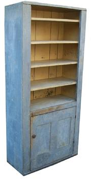 U31 19th century  New England   Open Top Storage Cupboard, with the original slate blue paint on the outside and  old yellow on the interior.