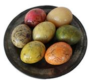 RM728 VINTAGE ALABASTER HAND CARVED POLISHED EASTER EGGS LOT OF 7 ASSORTED COLORS