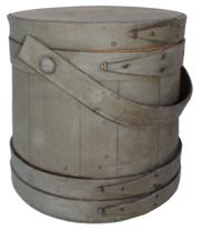 "C484 Late 19th century Oyster Firkin with the original gray paint, This firkins was sent from Baltimore, Md-full of oysters...1917."" (There is more to the note...please see pictures! )It is 10"" tall, 9-1/2"" diameter top side, and 10-1/4"" base diameter,"