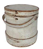 "U394 Original white   painted wooden Firkin,The Firkin sides and top are surrounded by a simple overlapping bentwood bands, secured by small copper tacks. 9"" diameter x 9 1/2"" tall"