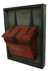 B103 19th century  wooden Wagon tool box in original orange/salmon paint circa 1850 with wrought iron banded mounting bracket, lid mount with strap hinges, simple hasp, and mounted on a green painted display board, 12 1/4�x 14 1/2� x 7�;