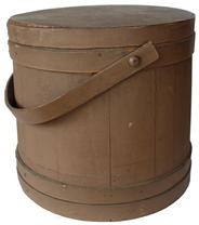 "B460 New England original dry nutmeg painted  Wooden Firkin, tongue and groove softwood staved sides, tapered lap joint wood bands, bent wood handle with wood peg attachments,14""h. x 14-½""dia."