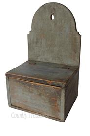 D117 Late 19th century Pennslyvania Wall Box ,with a high arched tombstone back, in pewter gray paint, one board construction, hinged lid, one board wire nail construction Salt Box