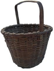 "W72 Early 19th century Eastern Shore Maryland Basket, handle notched, very well made, with a pushed up bottom, very good condition  14"" diameter x 16 1/2"" tall"