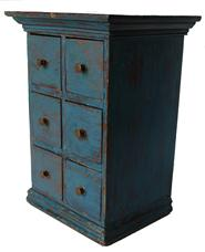 "C77 19th century Pennslyvaina, six drawer Spice Chest , all original with old blue paint , nailed construction, applied molding  top and bottom one board back  circa 1850-1870 9"" wide x 7 1/2"" deep x 12 3/4"" tall"