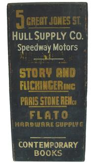 L789 Early 20th century wooden Trade Sign, adversting several business, black background with gold and white letting, painted on board