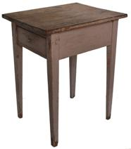 "B313 19th century Ohio salmon  over the original red one drawer Stand, with a dovetailed drawer, one board top, nice tapered legs, circa 1820  Measurements are: 17 1/2"" wide x 22 1/2"" deep x 27 1/2"" tall"