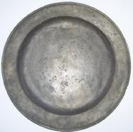 U165 Early 19th century Large Pewter Charger with marking A.G. on the back   18""