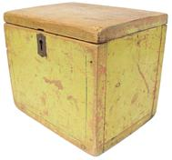 "C506 19th century Maryland domument Box in viberant  yellow paint with  green pin striping, square head nails construction, 10"" wide x 8"" deep x 9"""