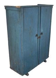 X313 19th century New York State two door pine storage Cupboard with wonderful original dry blue paint circa 1850 .