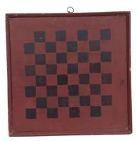 "Z324 19th century New Englan Game Board  with original  red and black paint with applied molding held in place with square head nails wonderful small size 11"" x 11"""