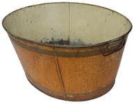 C364  Late 19th century  tin Tub with wonderful decorated paint mustard with brown bands on the exterior, the interior  of the tub is painted white  with handles on each  side