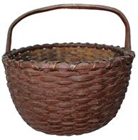 "P186 Virginia gathering Basket with the original dark red  painted, single wrapped rim, steamed and bent handle , very well made 10 1/2""across the center x 6 1/4"" tall"