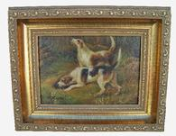 "U57 Oil on board of two Hunting Dogs, signed by Artist ( R. Mario) replaced frame great small size 10 1/4"" long x 8 1/4"" tall"
