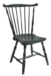 X343  New England Fan Back Windsor Chair, early black paint over original red,  6 spindles forming Fan support. Sausages turned legs joined by H stretcher support the seat, circa 1790 -1810 .