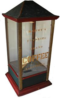 B174  Late 19th century Store Counter Coffer dispenser  four glass sides with a removerable  tin top with red and green, gold paint, hinged door for  dispensing  coffee. advertising  the C.D Kenny Co. Baltimore Md.