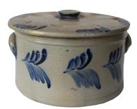 "B357  Baltimore Cobalt-Decorated Stoneware Cake Crock with Lid, attributed to the Peter Hermann Pottery, Baltimore Maryland , circa 1870, cylindrical crock with heavily-tooled shoulder, ribbed lug handles, cobalt  decorating both sides. Handles decorated with brushed cobalt highlights. The lid is one of the finer examples of an American stoneware , with  cobalt around the knob small rim chip, .  Diameter (across top of crock) 12"" ; High  x 6 1/2""."