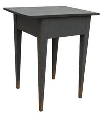 T119 Southern Ga. Hepplewhite work Table with early pewter gray paint. This Table is all mortised and pegged construction, the wood is southern heart pine, circa 1840