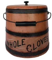 "B446  19th century Bucket with the original salmon paint, with the words Whole Cloves in black paint with mustard decoration  Stave construction with bentwood swing handle.  13 1/2"" tall"
