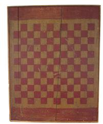 D178 Painted pine gameboard, 19th c., retaining its original red and yellow paint