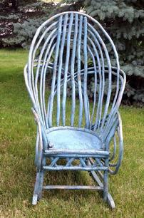 "Z214 Early 20th century Exceptional Bedford County,Pennslyvania,  Twig Roking Chair with the  robin egg blue paint This twig rocking chair is in original, untouched condition. Very well-made and solid   measurements are39"" tall x 24 1/2"" wide x 31"" deep from the front of rocks to the back"