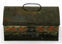 "V65 19th century small paint decorated Toleware Box , with wonderful mustard and green and red decorations, it is all original with no paint touch ups Measurements are:7"" wide x 3 1/2"" tall x 3"" deep"