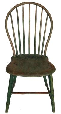 "A301 Beautifully Pennslyvania signed  Bow Back Windsor, chair.19th century seven spindle back bamboo turning Windsor Chair , in early apple green over the original green, the spindles and bow are made out of hickroy with a poplar seat, signed under seat C. lewis circa 1800  17 1/2"" seat tp the floor x 36"" tall"