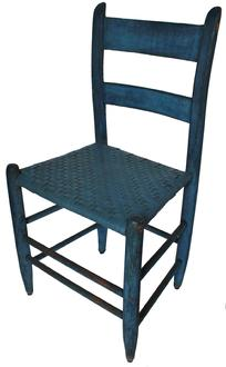 "C560 Mid 19th century Shendahoa Valley  Virginia slat back chair  with rabbit ears, in beautiful dry blue paint.32 1/2"" tall 17"" wide x 14"" deep"