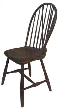 Y64 Early 19th Century Pennsylvania, Philadelphia Brace Back Windsor Chair  In Original Decorated Paint, Salmon With Black Decoration, With A White Pin  ...