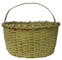 "Y88 Early 20th century Utility Basket oak splint, with the original yellow paint, double wrapped rim, with a reinforced kicked in bottom, from Eastern Shore  of maryland  14"" across the center"