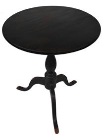 C349 Early 19th century New England Carved  Cherry Candlestand, with the original black paint , circa 1800 ,