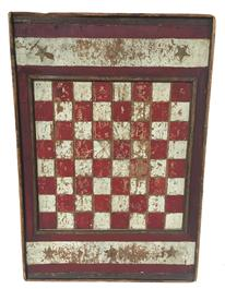 "D251 19th century beautiful Game Board with stars, This is an American Game Board with six stars, in mustard paint,  great colors of red and white, with applied molding, one board. showing great wear to the paint from years of game playing.  this board also has two bread board end which keep it from cupping Measurements are 14 "" wide x 21"" tall"