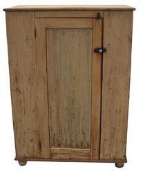 "V434 19th century Pennsylvania one door Storage Cupboard, with original paint,  square nail construction, 19"" deep x 37 1/4"" wide x 51 1/2"" tall"