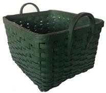 "A163 19th century wonderful gathering Basket from Pennsylvania, with wonderful original Green-paint,Woven Splint Basket, it is a square with  two carved hardwood handles,  with beautiful green paint and patina outstanding condition   overall  16"" x 13"" x 10"" tall"