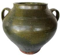 "B378 NORTH CAROLINA STONEWARE  Jar,late 19th century, dark green  glaze, over redware, approximately three-gallon capacity. Graceful ovoid form with two vertical open handles and flared rim. Probably Catawba Valley, NC. 13 1/4"" High, 7 1/2""diameter opening rim"