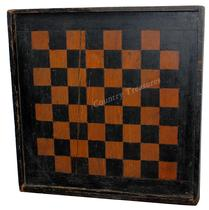 "C394  19th century Virginia Game Board, with original black and salmon paint, with applied molding, the wood is white pine and walnut, with bread board ends to pkeep it from wrapping circa 1880  Measurements are: 14 1/2 x 14 1/2"" x 1 1/2"" deep"