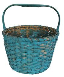 "D10  Late 19th century Gathering Basket with the original blue  paint, single wrapped rim, steamed and bent fixed handle , raised weave bottom, for ventilation,  weave added foot 12 1/2"" diameter x 9 1/2"" tall side x 13 1/2"" including the handle"