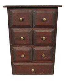 "C513  Seven Drawer Spice Cabinet circa 1880 six small drawers over one large drawer in simple nail construction with old red surface  121/2"" x 6 1/2"" "" x 17 1/2"""