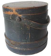 C16 New England original dry indigo  painted  Wooden Firkin, tongue and groove softwood staved sides, tapered lap joint wood bands, bent wood handle with wood peg attachmentsPainted pine firkin, 19th c., retaining its original blue surface, 9�