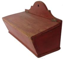 D175 Pennsylvania19th century Wall Box with the original dry red paint, dovetailed case,with a high arched back , canted sides, hinged lid with a divided interior, all original