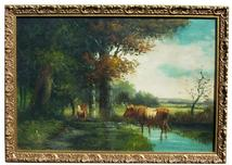 Oil painting, oil on canvas, cow painting, cow, t. Grant, grant