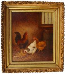 "C471 19th century Painting of three Chicken, in barn yard , in very detailed to this painting ,painted on board signed by J. B Sayney,  14"" x 16"""