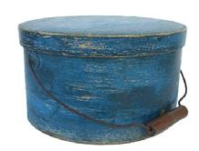 T418 New England Bail Handle Pantry Box with the original blue paint .
