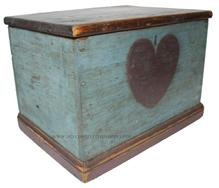 "D88 Late 18th century early 19th century Document Box with original blue paint, red paint, with an etched heart on the front, the wood is pine, with a applied base. all square nail and tee nail construction.  10 1/2"" deep x 14 3/4"" wide x 10 1/2"" tall"