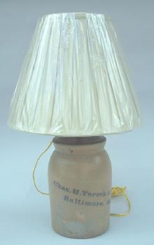 Stoneware Crock lamp marked Chas.( Charles) H. Torsch & Co. Baltimore MD